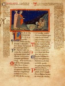 Inferno, XXXIII. Manoscritto Palatino 313 (il cosiddetto «codice Poggiali») della Biblioteca Nazionale Centrale di Firenze. Membranaceo, mm 297 x 211, di cc. 237 numerate per 237 perché il 61 è ripetuto due volte. Contiene il commento all'Inferno di Jacopo di Dante. Piuttosto controversa la datazione: il Batines e il Palermo datarono il codice tra il 1333 e il 1345; Petrocchi lo colloca invece intorno al 1350.